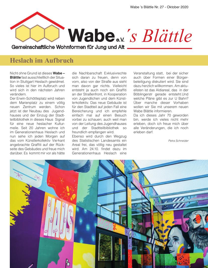 Titelseite des aktuellen WABE-Blättles